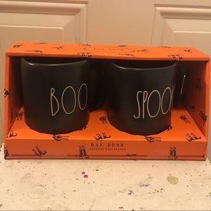 NEW Rae Dunn Black Halloween Mug Set Boo & Spooky